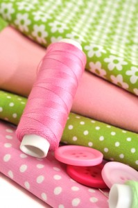 Pink and Green Fabric and Notions