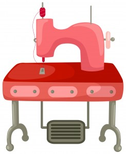 Pink Sewing Machine and Table Vector